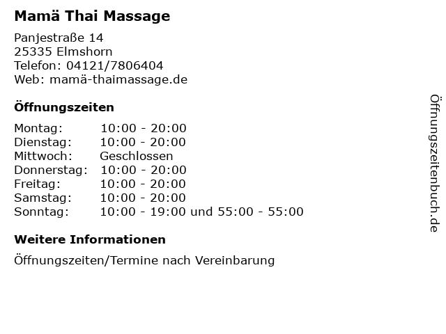 Mamä Thai Massage in Elmshorn: Adresse und Öffnungszeiten