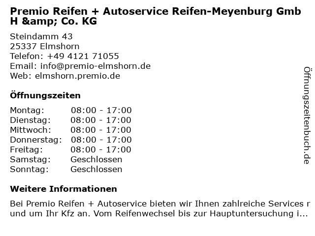 Premio Reifen + Autoservice Reifen-Meyenburg GmbH & Co. KG in Elmshorn: Adresse und Öffnungszeiten