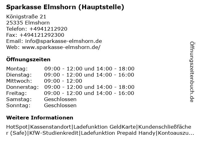 Sparkasse Elmshorn - Hauptgeschäftsstelle Elmshorn in Elmshorn: Adresse und Öffnungszeiten