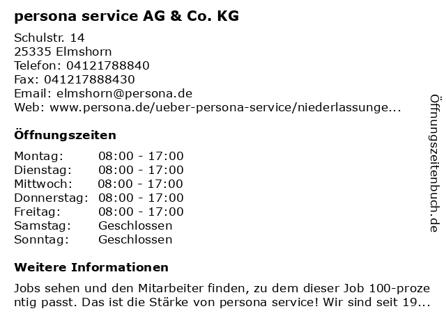 persona service AG & Co. KG in Elmshorn: Adresse und Öffnungszeiten