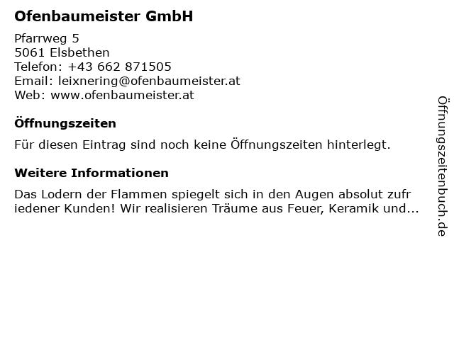 Ofenbaumeister GmbH in Elsbethen: Adresse und Öffnungszeiten