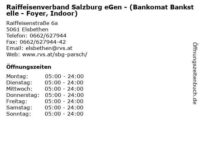 Raiffeisenverband Salzburg eGen - (Bankomat Bankstelle - Foyer, Indoor) in Elsbethen: Adresse und Öffnungszeiten
