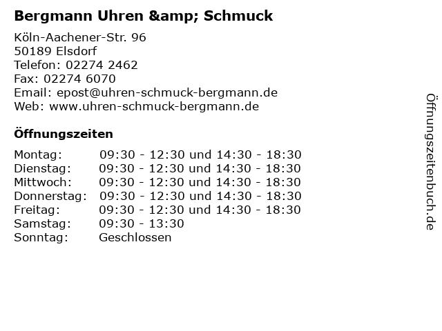 Bergmann Uhren & Schmuck in Elsdorf: Adresse und Öffnungszeiten