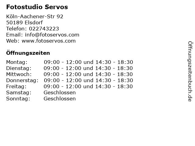Fotostudio Servos in Elsdorf: Adresse und Öffnungszeiten