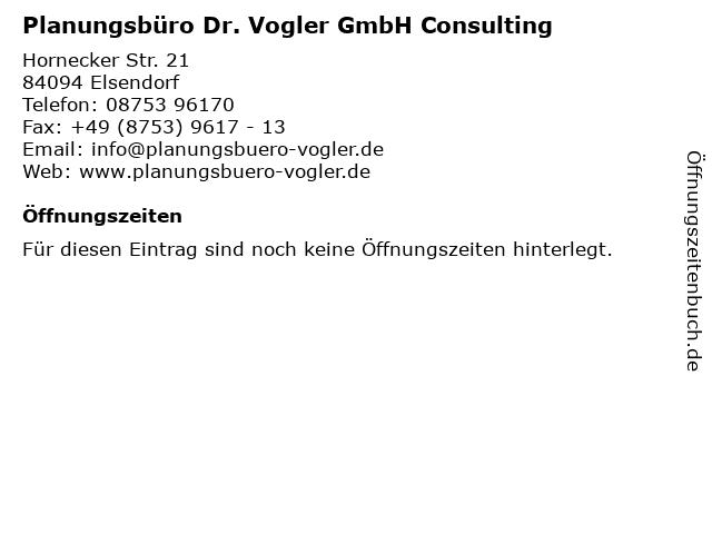 ᐅ Offnungszeiten Planungsburo Dr Vogler Gmbh Consulting