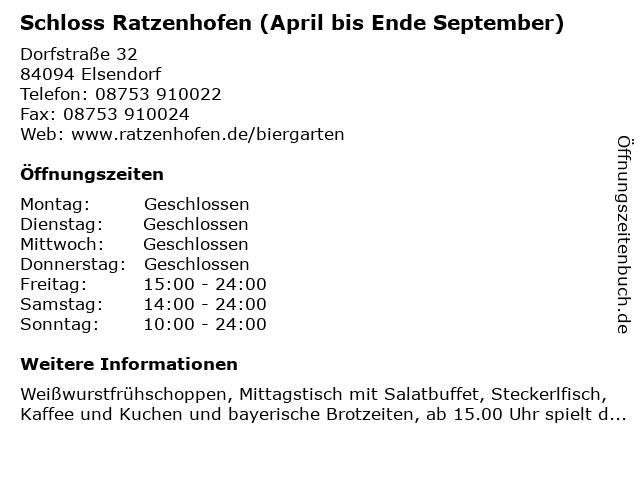 Á… Offnungszeiten Schloss Ratzenhofen April Bis Ende September Dorfstrasse 32 In Elsendorf