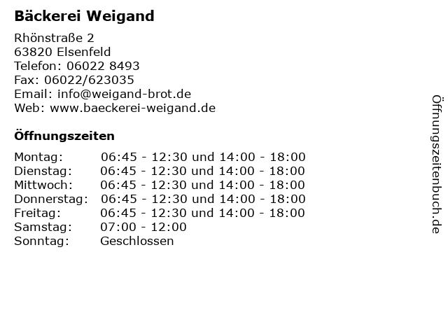 Bäckerei Weigand in Elsenfeld: Adresse und Öffnungszeiten
