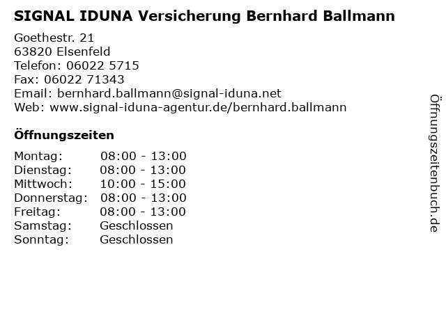 SIGNAL IDUNA Bernhard Ballmann in Elsenfeld: Adresse und Öffnungszeiten