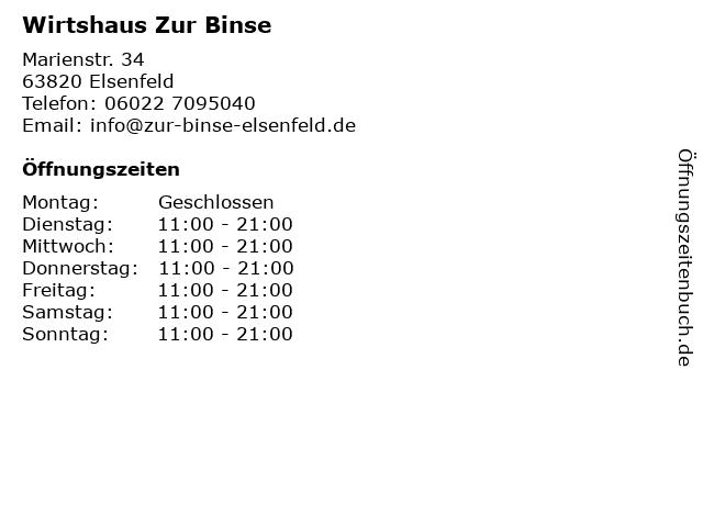 Wirtshaus Zur Binse in Elsenfeld: Adresse und Öffnungszeiten