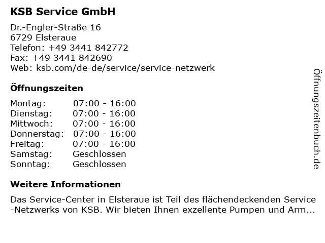 KSB Service GmbH in Elsteraue: Adresse und Öffnungszeiten