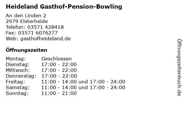 Heideland Gasthof-Pension-Bowling in Elsterheide: Adresse und Öffnungszeiten