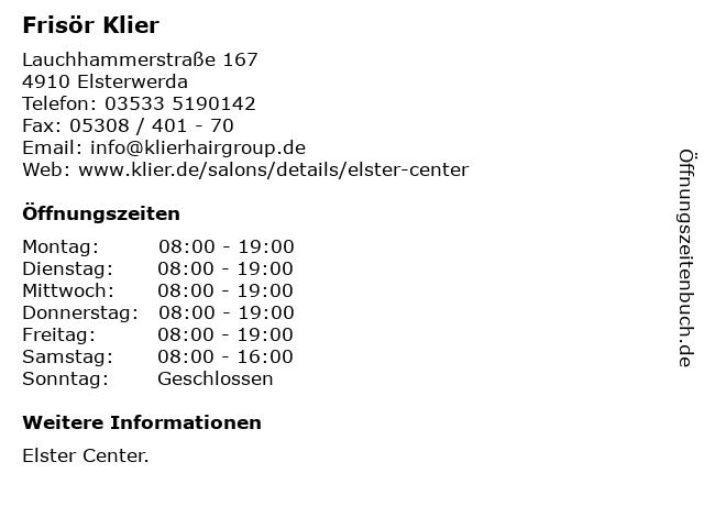 Frisör Klier GmbH in Elsterwerda: Adresse und Öffnungszeiten