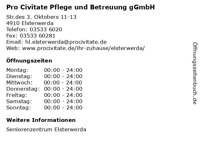Pro Civitate Pflege und Betreuung gGmbH in Elsterwerda: Adresse und Öffnungszeiten