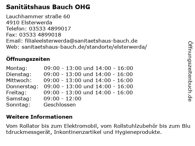 Sanitätshaus Bauch OHG in Elsterwerda: Adresse und Öffnungszeiten