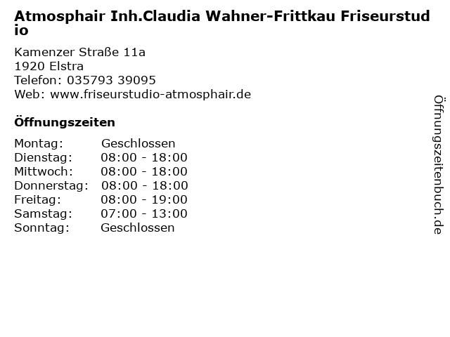 Atmosphair Inh.Claudia Wahner-Frittkau Friseurstudio in Elstra: Adresse und Öffnungszeiten