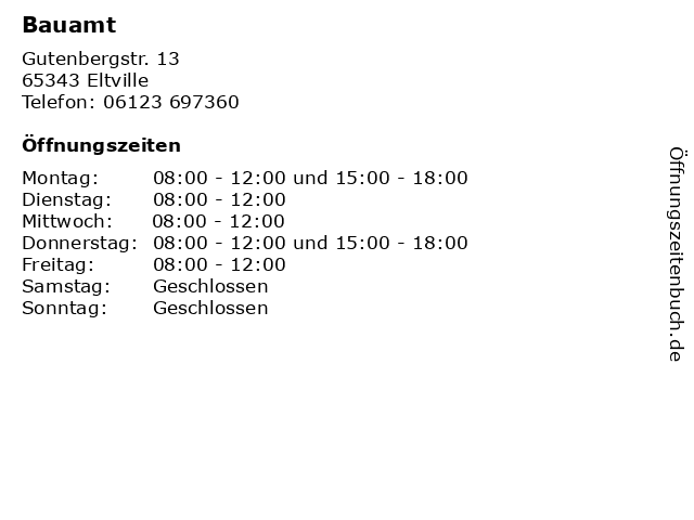 Bauamt in Eltville: Adresse und Öffnungszeiten