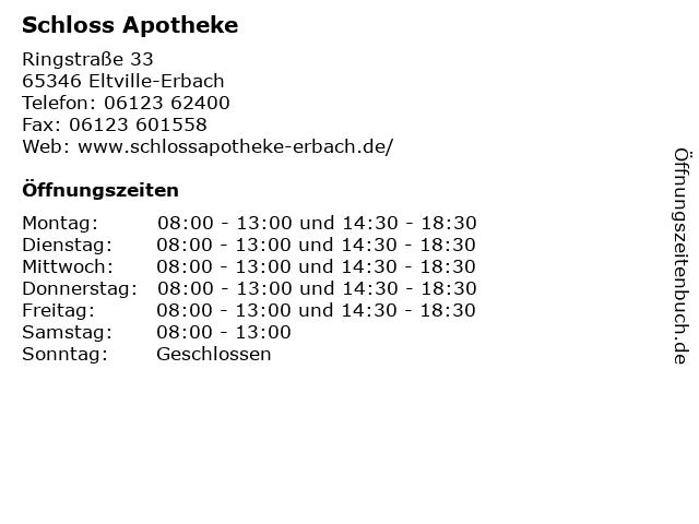 Schloss Apotheke in Eltville-Erbach: Adresse und Öffnungszeiten