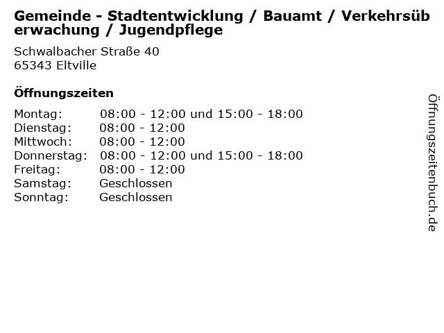 Gemeinde - Stadtentwicklung / Bauamt / Verkehrsüberwachung / Jugendpflege in Eltville: Adresse und Öffnungszeiten