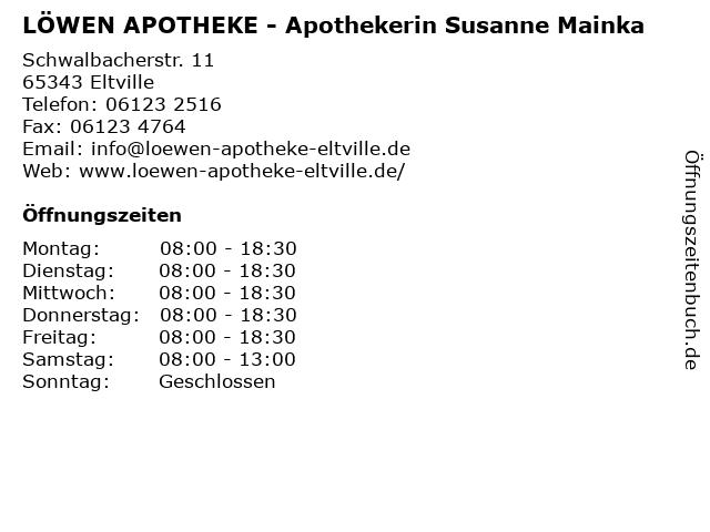 LÖWEN APOTHEKE - Apothekerin Susanne Mainka in Eltville: Adresse und Öffnungszeiten
