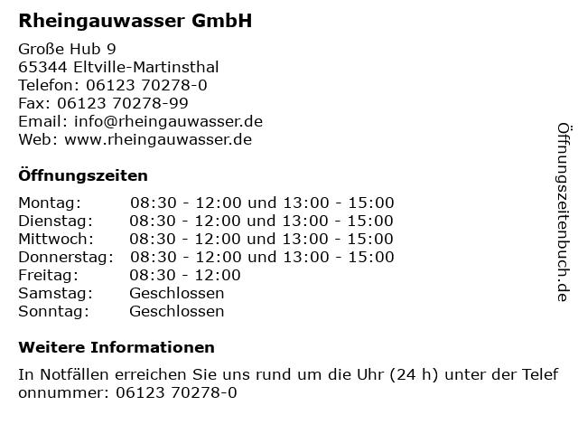 Rheingauwasser GmbH in Eltville-Martinsthal: Adresse und Öffnungszeiten