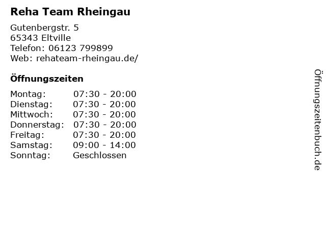 Reha Team Rheingau in Eltville: Adresse und Öffnungszeiten
