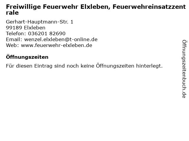 Freiwillige Feuerwehr Elxleben, Feuerwehreinsatzzentrale in Elxleben: Adresse und Öffnungszeiten