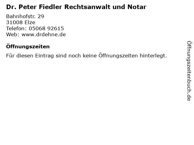 Dr. Peter Fiedler Rechtsanwalt und Notar in Elze: Adresse und Öffnungszeiten