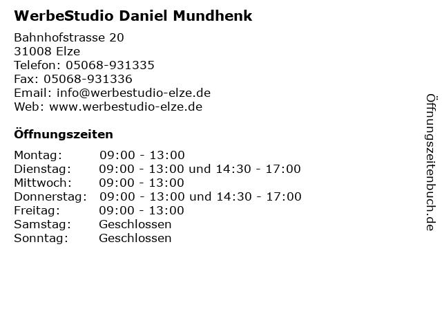 WerbeStudio Daniel Mundhenk in Elze: Adresse und Öffnungszeiten