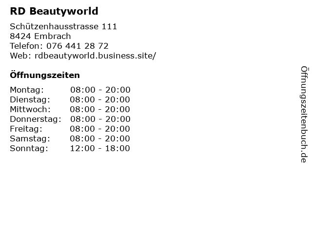 RD Beautyworld in Embrach: Adresse und Öffnungszeiten