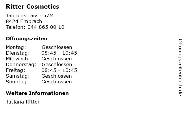 Ritter Cosmetics in Embrach: Adresse und Öffnungszeiten