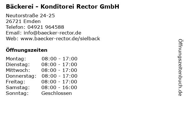 Bäckerei - Konditorei Rector GmbH in Emden: Adresse und Öffnungszeiten