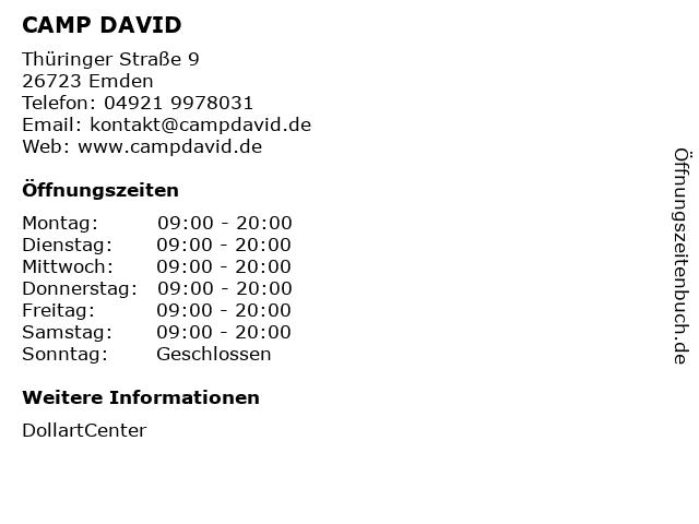 CAMP DAVID in Emden: Adresse und Öffnungszeiten