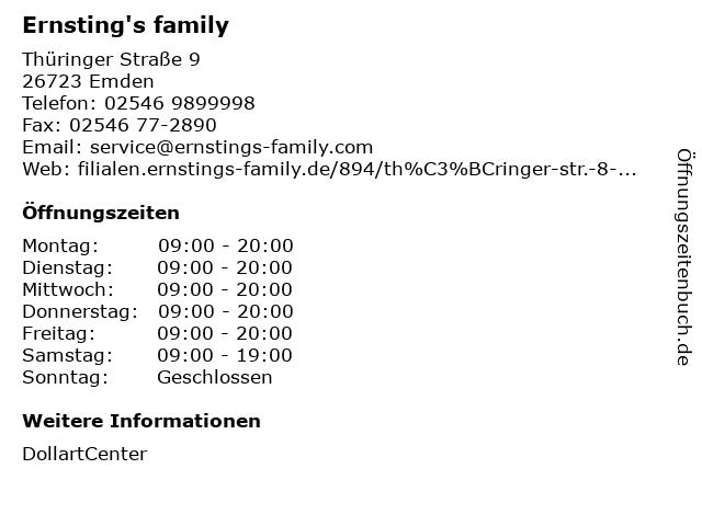 Ernsting's family GmbH & Co. KG in Emden: Adresse und Öffnungszeiten