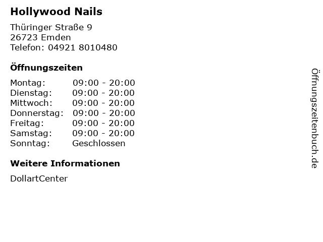 Hollywood Nails in Emden: Adresse und Öffnungszeiten