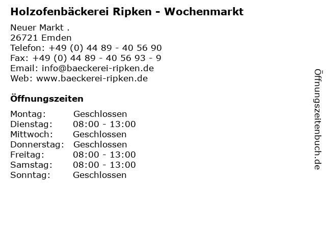 Holzofenbäckerei Ripken - Wochenmarkt in Emden: Adresse und Öffnungszeiten