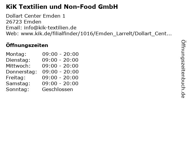 KiK Textilien und Non-Food GmbH in Emden: Adresse und Öffnungszeiten