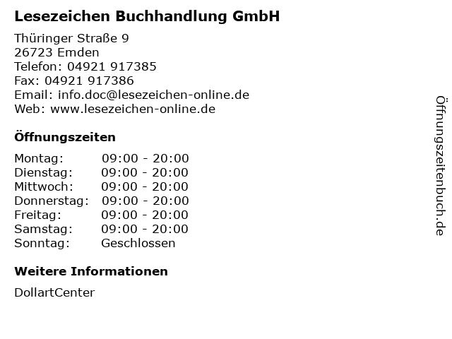Lesezeichen Buchhandlung GmbH in Emden: Adresse und Öffnungszeiten