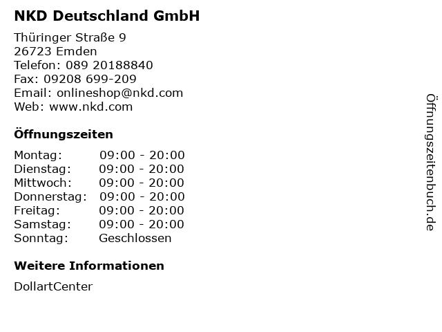 NKD Deutschland GmbH in Emden: Adresse und Öffnungszeiten