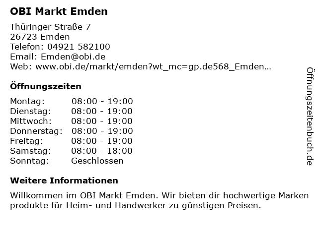 OBI GmbH & Co. Deutschland KG in Emden: Adresse und Öffnungszeiten