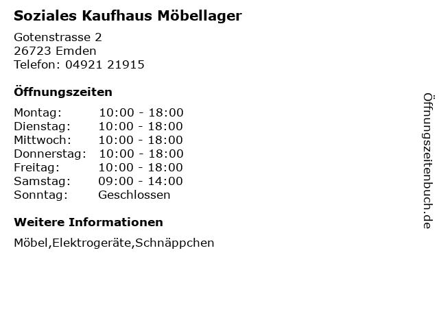ᐅ öffnungszeiten Soziales Kaufhaus Möbellager Gotenstrasse 2 In