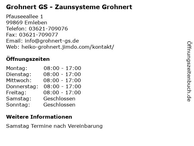 Grohnert GS - Zaunsysteme Grohnert in Emleben: Adresse und Öffnungszeiten