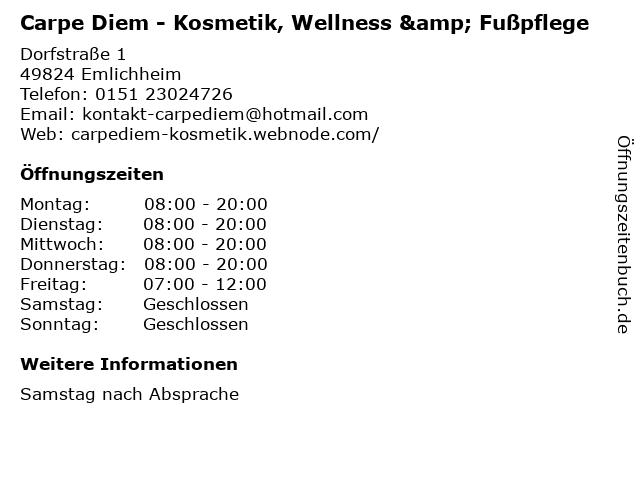 Carpe Diem - Kosmetik, Wellness & Fußpflege in Emlichheim: Adresse und Öffnungszeiten
