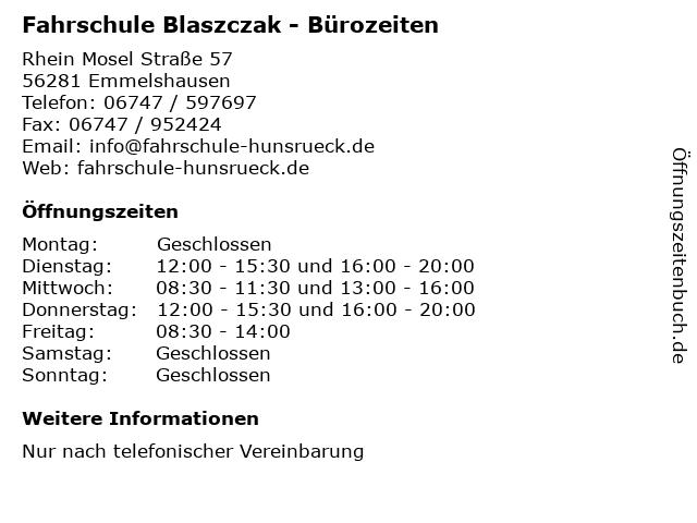 Fahrschule Blaszczak - Bürozeiten in Emmelshausen: Adresse und Öffnungszeiten