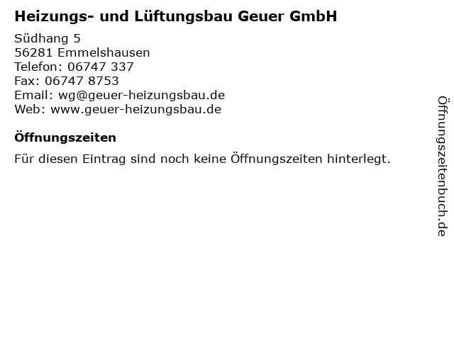 Heizungs- und Lüftungsbau Geuer GmbH in Emmelshausen: Adresse und Öffnungszeiten