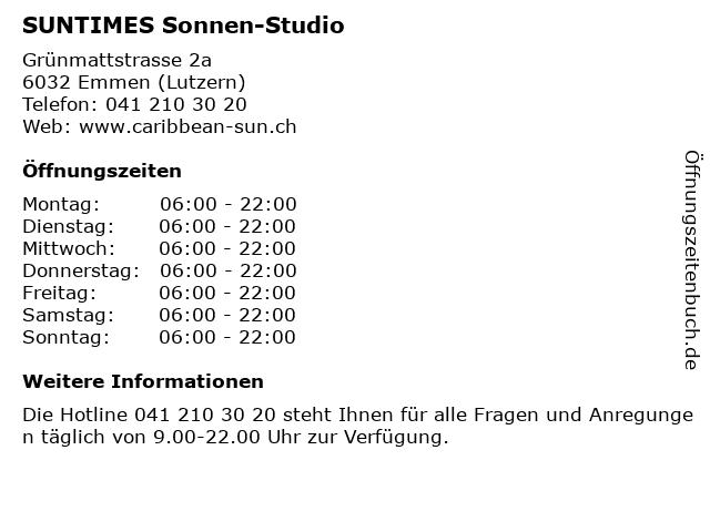 SUNTIMES Sonnen-Studio in Emmen (Lutzern): Adresse und Öffnungszeiten