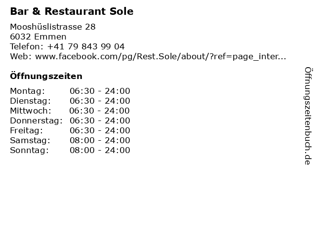 Bar & Restaurant Sole in Emmen: Adresse und Öffnungszeiten
