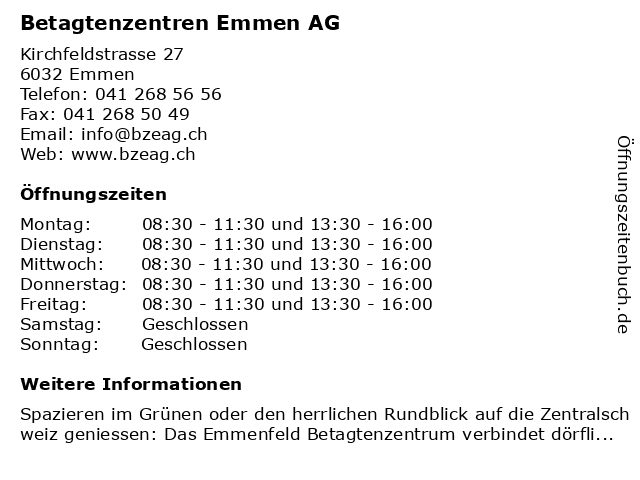 Betagtenzentren Emmen AG in Emmen: Adresse und Öffnungszeiten