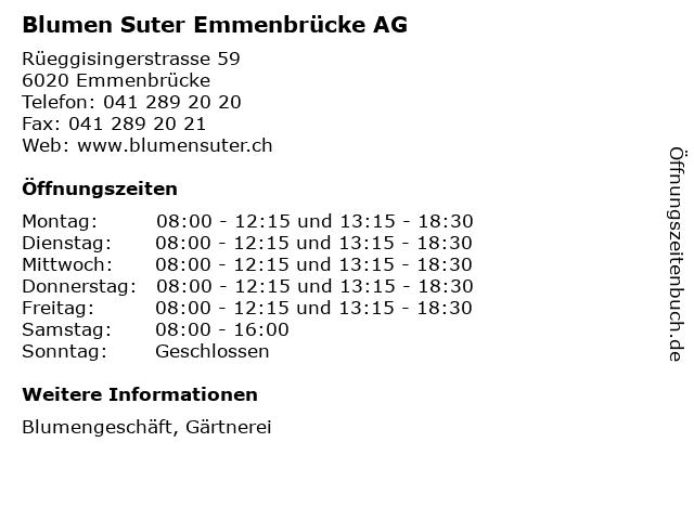Blumen Suter Emmenbrücke AG in Emmenbrücke: Adresse und Öffnungszeiten