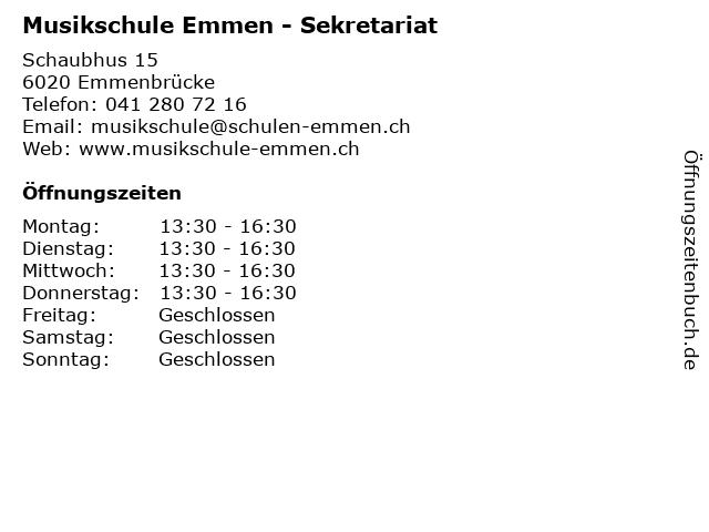 Musikschule Emmen - Sekretariat in Emmenbrücke: Adresse und Öffnungszeiten