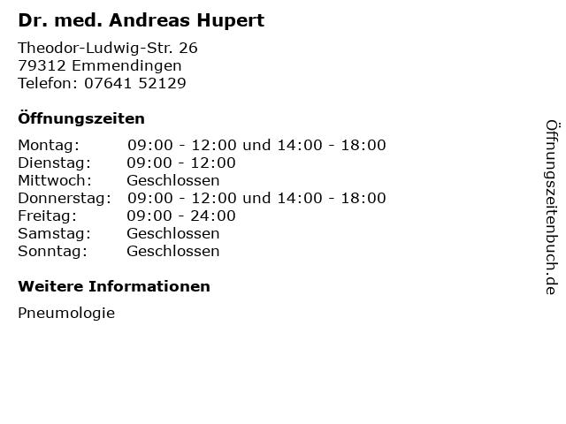 Dr. med. Andreas Hupert in Emmendingen: Adresse und Öffnungszeiten